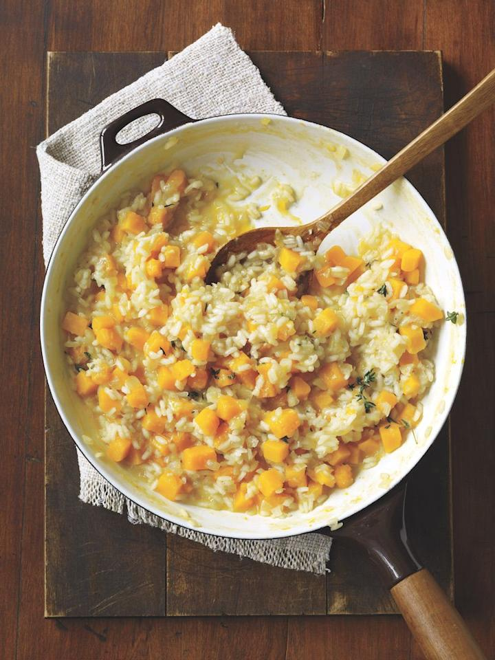 """<p>This rich, flavor-packed dish will fill you up without going calorie crazy.</p><p><strong><a href=""""https://www.womansday.com/food-recipes/food-drinks/recipes/a11538/butternut-squash-risotto-recipe-122820/"""" target=""""_blank"""">Get the recipe.</a></strong></p>"""