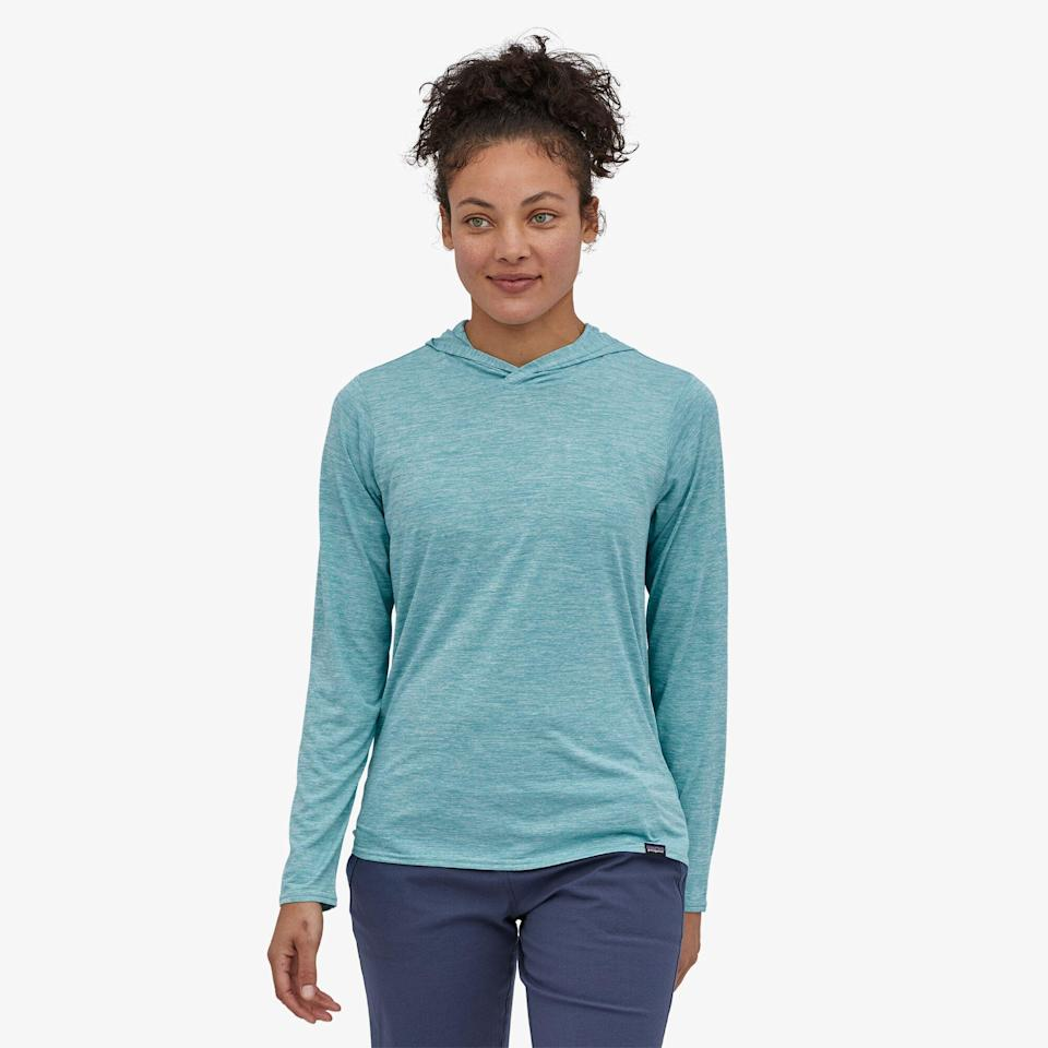 """<p><strong>Reviews</strong></p><p>patagonia.com</p><p><strong>$55.00</strong></p><p><a href=""""https://www.patagonia.com/product/womens-capilene-cool-daily-hoody/45315.html"""" rel=""""nofollow noopener"""" target=""""_blank"""" data-ylk=""""slk:Shop Now"""" class=""""link rapid-noclick-resp"""">Shop Now</a></p><p>Morning runs or trips to the store can be chilly, even in summer, so make sure to bring this Patagonia hoodie along—it's easy to style and offers <strong>UPF 50+ sun protection. </strong></p>"""