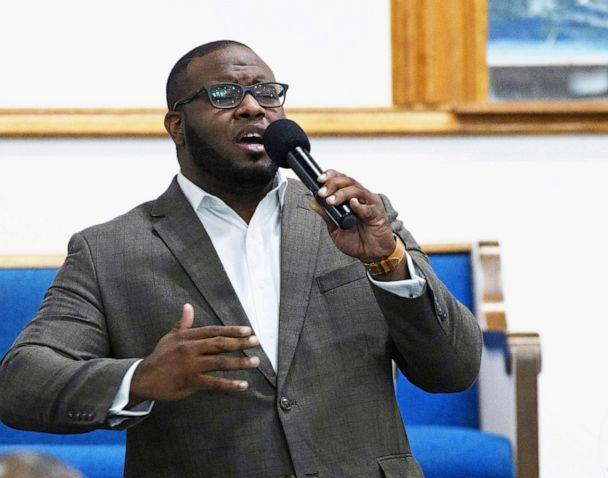 PHOTO: In this Sept. 21, 2017, file photo provided by Harding University in Searcy, Ark., Botham Jean leads worship at a university presidential reception in Dallas. (Jeff Montgomery/Harding University via AP)