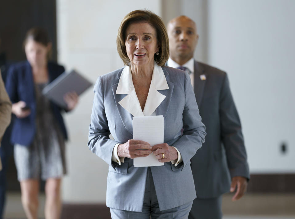 Speaker of the House Nancy Pelosi, D-Calif., walks through the Capitol in Washington, Wednesday, June 30, 2021, before bringing the vote to the floor on creation of a select committee to investigate the Jan. 6 Capitol insurrection. (AP Photo/J. Scott Applewhite)