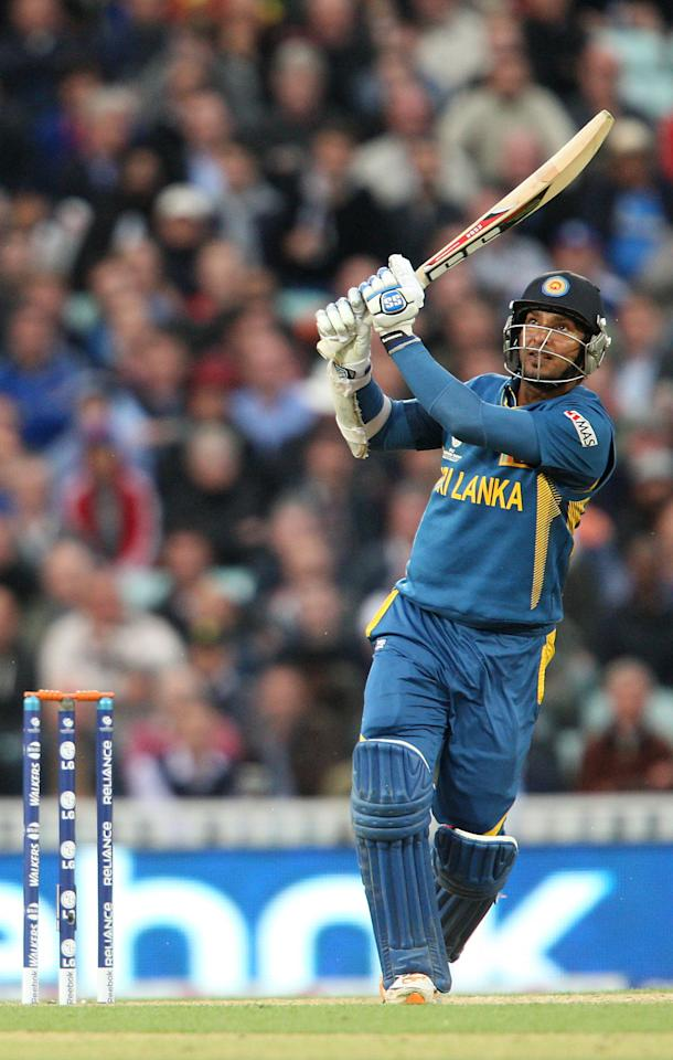 Sri Lanka's Kumar Sangakkara in action during the ICC Champions Trophy match at The Kia Oval, London.