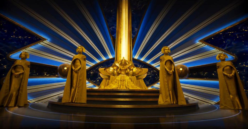 <p>The next several slides come from a sequence in the film where the Guardians meet Ayesha in her glittery throneroom. (Photo: Marvel) </p>