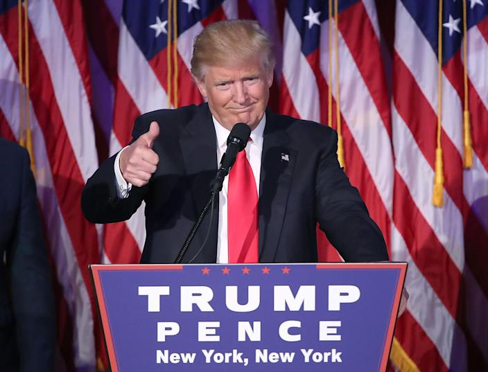 Republican President-elect Donald Trump gives a thumbs-up to the crowd during his acceptance speech at his election night event at the New York Hilton Midtown in the early morning hours of Nov. 9, 2016, in New York City. (Photo: Mark Wilson/Getty Images)