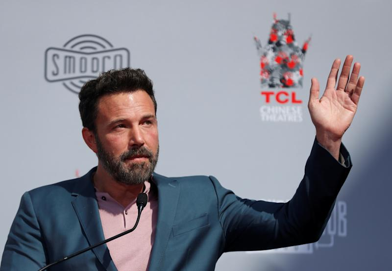 Actor Ben Affleck gestures as he speaks during a handprint and footprint ceremony for Kevin Smith and Jason Mewes, at the forecourt of the TCL Chinese Theatre, in Los Angeles, California, U.S. October 14, 2019. REUTERS/Mario Anzuoni