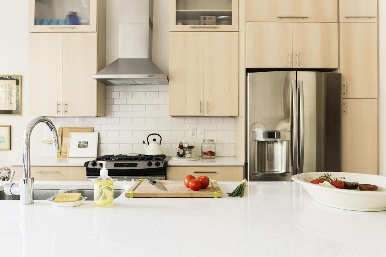 """<p>When you think about the stuff you put on your countertops (car keys, mail, your purse) it's impossible to ignore how <a href=""""http://www.goodhousekeeping.com/home/organizing/a34015/daily-habits-for-a-clean-kitchen/"""" target=""""_blank"""">dirty</a> they are — and don't get us started on leaving out crumbs for critters (eek!). So you should <a href=""""http://www.goodhousekeeping.com/home/cleaning/news/a35574/disenfecting-wipes-spread-bacteria/"""" target=""""_blank"""">wipe down and disinfect</a> every day. Just make sure you don't use the same sponge, paper towel, or cloth for the job: """"It's not good practice to use one wipe across multiple surfaces, because this will likely cause cross-contamination,"""" says Michaelle Exhume, a product analyst in the Cleaning Lab at the <a href=""""http://www.goodhousekeeping.com/institute/about-the-institute/a16265/about-good-housekeeping-research-institute/"""" target=""""_blank"""">Good Housekeeping Institute</a>.</p>"""