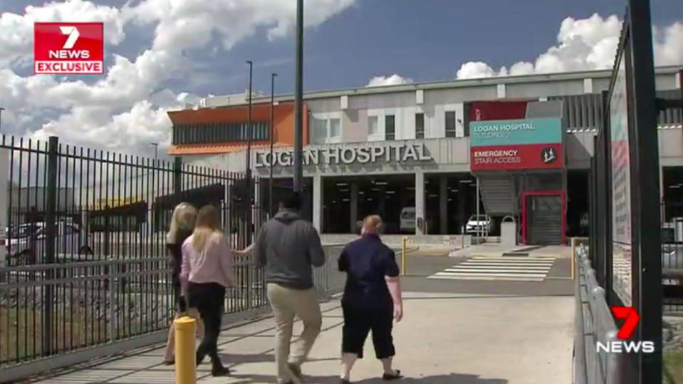 The alleged carjacking happened in a carpark next to Logan Hospital in Queensland. Source: 7 News