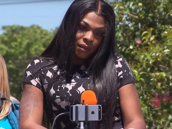 Muhlaysia Booker spoke at a news conference after she was beaten in April (CBSDFW)