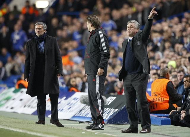 Two former Chelsea managers Jose Mourinho (left) and Carlo Ancelotti will go head-to-head again