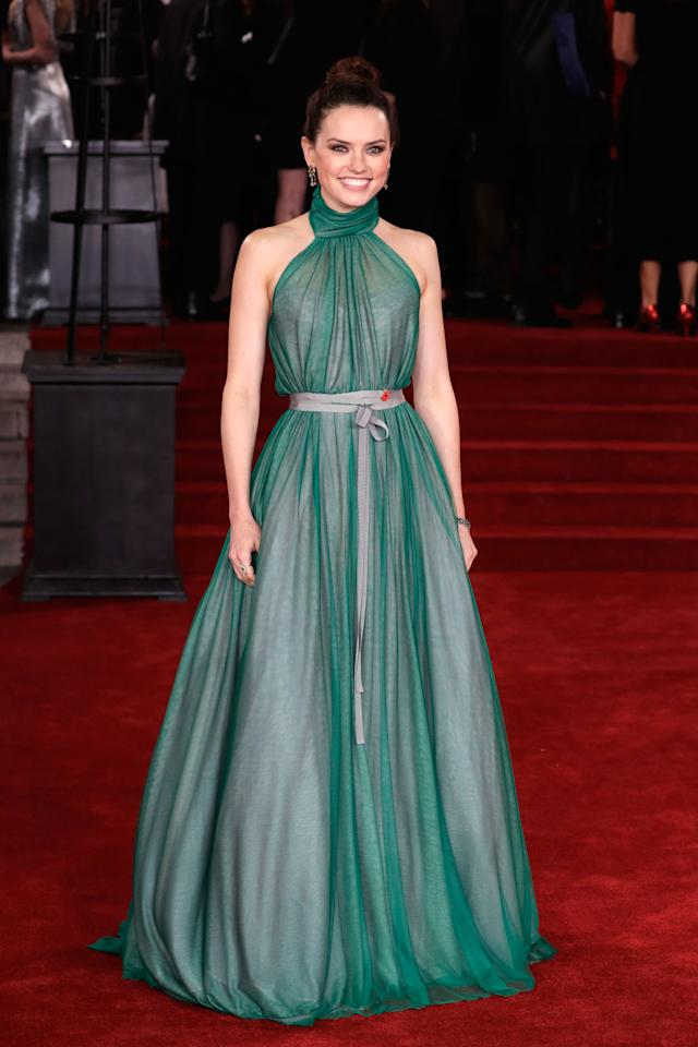 <p>The star wore a green chiffon halter-neck dress with a silver belt tied at her waist for the London premiere of <em>Murder On The Orient Express</em>. <span></span></p>