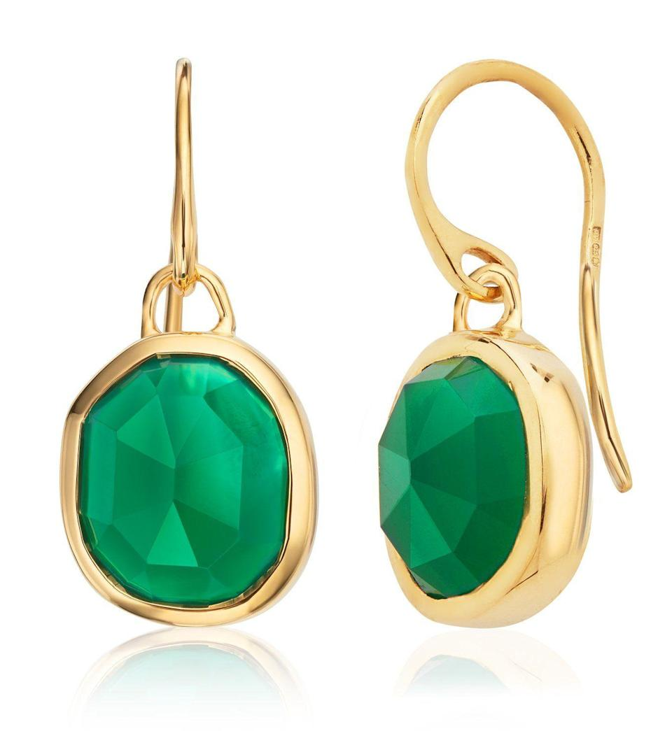 """<p>monicavinader.com</p><p><strong>$175.00</strong></p><p><a href=""""https://go.redirectingat.com?id=74968X1596630&url=https%3A%2F%2Fwww.monicavinader.com%2Fus%2Fsiren-wire-earrings%2Fgold-vermeil-siren-wire-earrings-green-onyx&sref=https%3A%2F%2Fwww.townandcountrymag.com%2Fstyle%2Ffashion-trends%2Fg10344923%2Fkate-middleton-favorite-fashion-brands-designers%2F"""" rel=""""nofollow noopener"""" target=""""_blank"""" data-ylk=""""slk:Shop Now"""" class=""""link rapid-noclick-resp"""">Shop Now</a></p><p>These green onyx drop earrings from Monica Vinader have become some of Kate's go-tos. (Her sister-in-law, Meghan Markle is also a fan of brand's <a href=""""https://www.monicavinader.com/us/linear-friendship-bracelet/gold-vermeil-linear-friendship-bracelet-gold-metallica"""" rel=""""nofollow noopener"""" target=""""_blank"""" data-ylk=""""slk:Linear Friendship Bracelet"""" class=""""link rapid-noclick-resp"""">Linear Friendship Bracelet</a>.)</p>"""