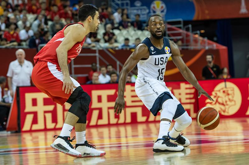 SHANGAI, CHINA - SEPTEMBER 03: Kemba Walker (R) of USA in action against Dogus Balbay (L) of Turkey during the 2019 FIBA World Cup Group E match between USA and Turkey at Shanghai Oriental Sports Center in Shanghai, China on September 03, 2019. (Photo by Stringer/Anadolu Agency via Getty Images)