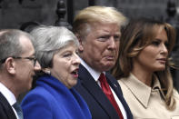 Philip May, British Prime Minister Theresa May, U.S. President Donald Trump and U.S. First Lady Melania Trump pose outside 10 Downing Street on June 4. (Getty Images)