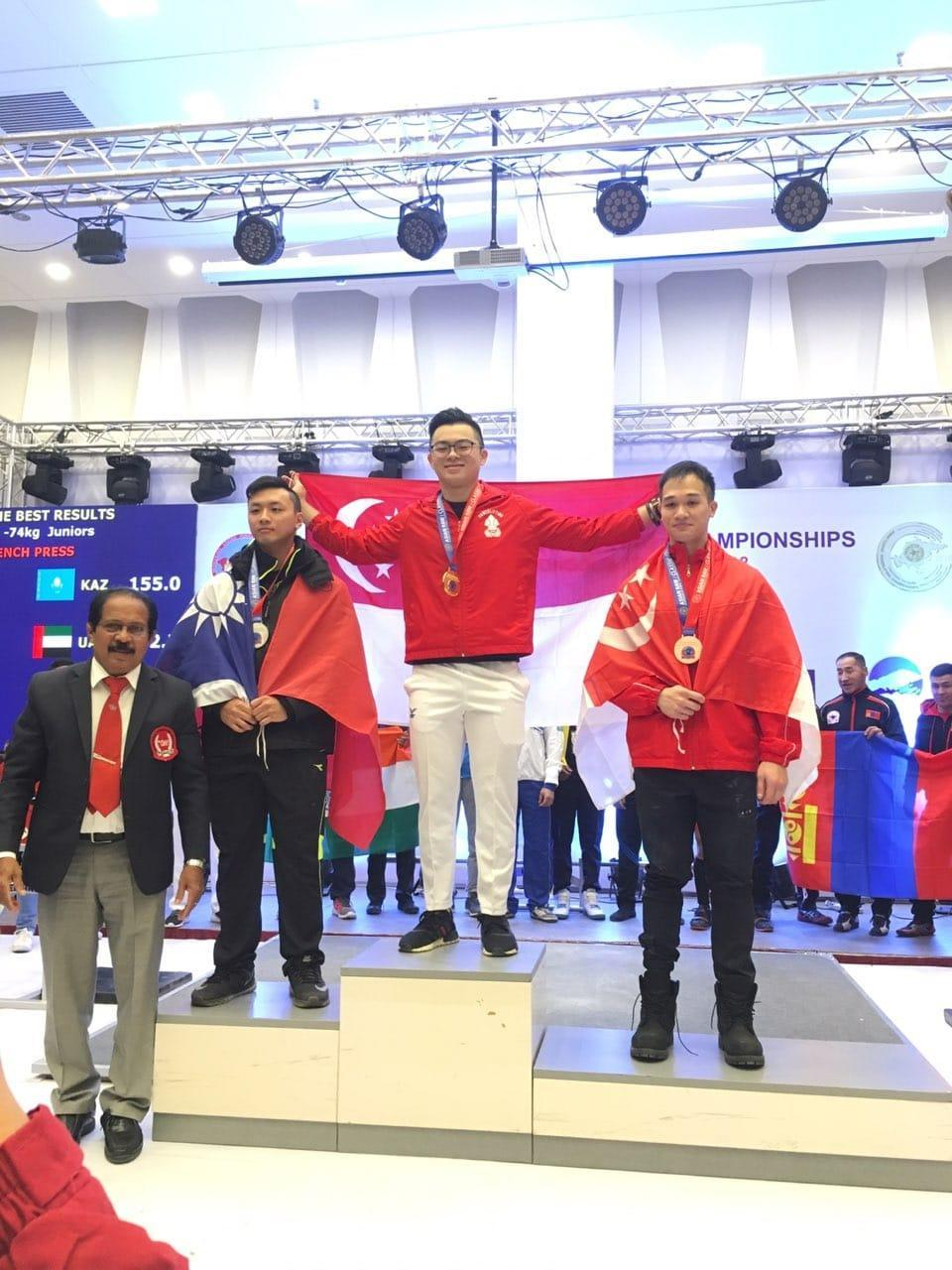 Singapore powerlifter Matthew Yap (centre) won two golds and set a new Asian record in the squat lift during the Asian Classic Powerlifting Championships in Ulaan Baatar on 6 December, 2018. (PHOTO: Matthias Yap)