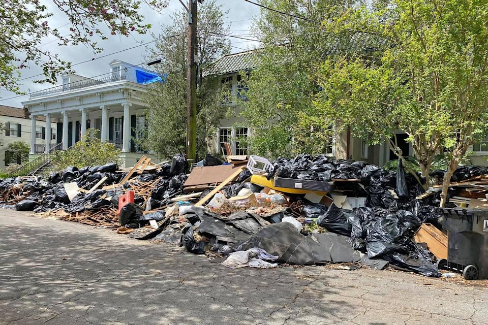 Image: Trash piled up on Bordeaux between St Charles and Pitt in New Orleans on Sept.16, 2021. (Courtney Creason / via Facebook)