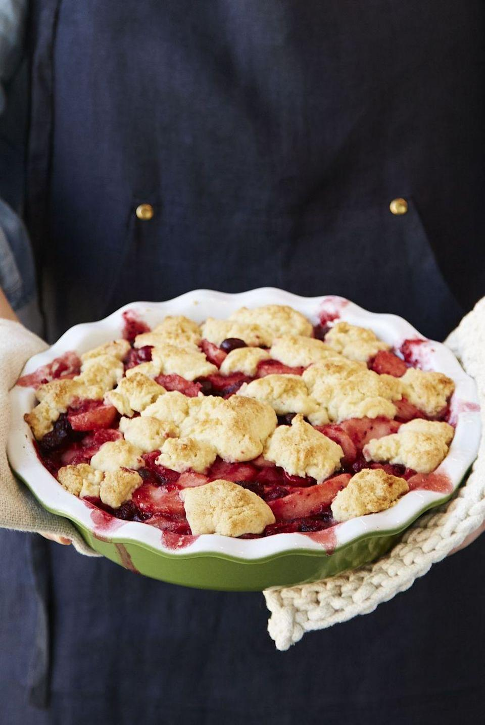 """<p>Who ever said baking had to be hard? The simple, buttery berry filling is crowned with a 4-ingredient topping. Just wait 'til you see how easy it is to eat.</p><p><em><a href=""""https://www.goodhousekeeping.com/food-recipes/a41083/brown-butter-pear-cranberry-cobbler-recipe/"""" rel=""""nofollow noopener"""" target=""""_blank"""" data-ylk=""""slk:Get the recipe for Brown Butter Pear & Cranberry Cobbler »"""" class=""""link rapid-noclick-resp"""">Get the recipe for Brown Butter Pear & Cranberry Cobbler »</a></em></p>"""