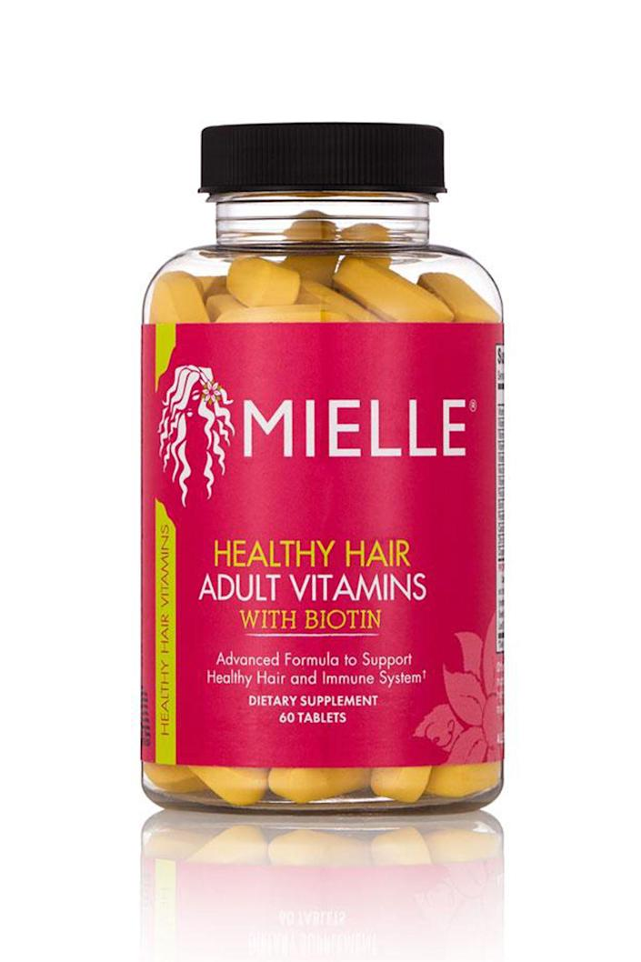 """<p><strong>Mielle Organics</strong></p><p>target.com</p><p><strong>$15.19</strong></p><p><a href=""""https://www.target.com/p/mielle-organics-healthy-hair-formula-vitamins-30-ct/-/A-50662314"""" rel=""""nofollow noopener"""" target=""""_blank"""" data-ylk=""""slk:Shop Now"""" class=""""link rapid-noclick-resp"""">Shop Now</a></p><p>Another affordable pick, Mielle Organics's multivitamins use a blend of herbs, amino acids, and minerals for stronger and thicker hair. These tablets are specifically meant to increase growth and prevent hair-loss.</p>"""