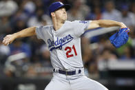 Los Angeles Dodgers starting pitcher Walker Buehler winds up during the first inning of a baseball game against the New York Mets, Sunday, Sept. 15, 2019, in New York. (AP Photo/Kathy Willens)