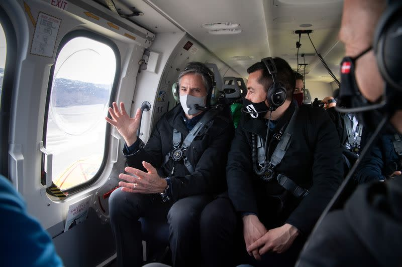 US Secretary of State Antony Blinken flies in a helicopter as he takes an aerial tour near Kangerlussuaq