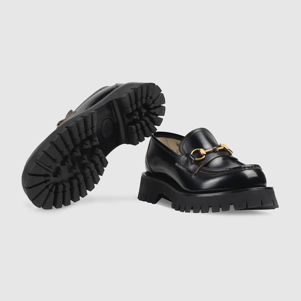 <p><span>Gucci Leather Lug Sole Horsebit Loafer</span> ($980)</p>