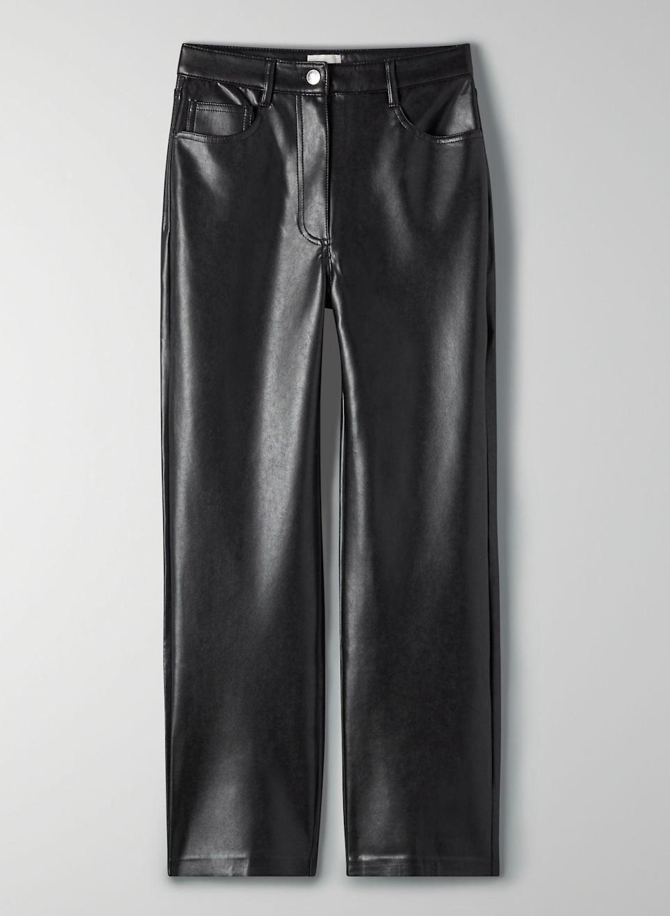 "<p>""The slick look of leather helps me elevate my outfit, but since I'm used to wearing sweats <i>and</i> focused on sustainable practices right now, I wanted to find something both comfortable and faux. Enter Aritzia's <span>Wilfred Melina Cropped Pant</span> ($148) that's made from vegan leather and allows me to show off my shoes, too.""</p>"