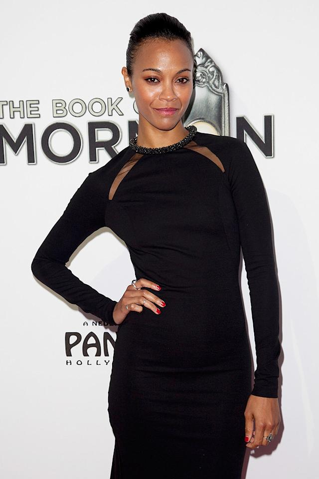 """The Words"" actress Zoe Saldana worked the red carpet in an LBD from Stella McCartney. (9/12/2012)"