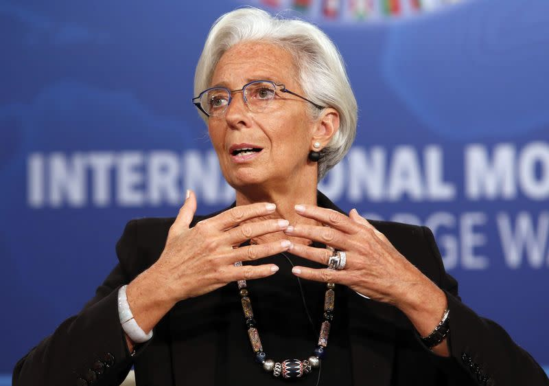 IMF Managing Director Lagarde participates in a panel discussion during the IMF-World Bank annual meetings in Washington