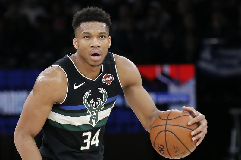 Milwaukee Bucks forward Giannis Antetokounmpo (34) in action during an NBA basketball game in Paris, Friday, Jan. 24, 2020. (AP Photo/Christophe Ena)