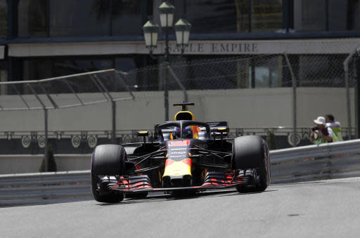 Australia driver Daniel Ricciardo steers his Red Bull during the third free practice at the Monaco racetrack, in Monaco, Saturday, May 26, 2018. The Formula one race will be held on Sunday. (AP Photo/Luca Bruno)