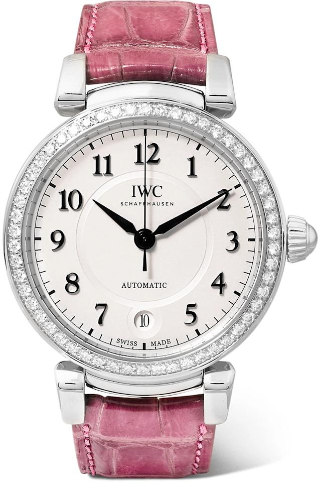 """<p><strong>IWC Schaffhausen</strong></p><p>net-a-porter.com</p><p><strong>$10800.00</strong></p><p><a href=""""https://go.redirectingat.com?id=74968X1596630&url=https%3A%2F%2Fwww.net-a-porter.com%2Fus%2Fen%2Fproduct%2F1174323&sref=http%3A%2F%2Fwww.townandcountrymag.com%2Fstyle%2Fjewelry-and-watches%2Fg22565958%2Fbest-watches-for-women%2F"""" target=""""_blank"""">Shop Now</a></p><p>The """"Da Vinci"""" model is one of IWC Schaffhausen's signature designs, and this raspberry colored strap adds a feminine flair to the classic. The watch is complete a silver-plated face and 25 jewels totaling .94 carats of diamonds total.</p>"""