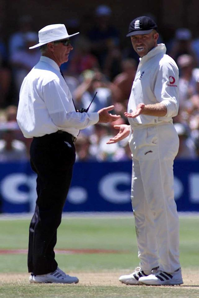 12 Dec 1999:  Chris Adams of England argues with Rudi Koertzen on his decision not to dismiss Jaques Kallis during the 2nd Test match at St George's cricket ground Port Elizabeth in South Africa. Mandatory Credit: Laurence Griffiths/ALLSPORT