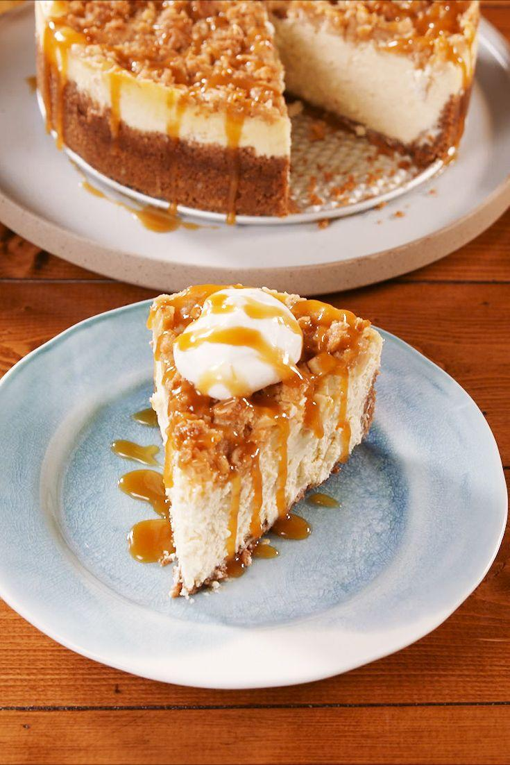 """<p>That caramel drizzle, though. </p><p>Get the recipe from <a href=""""https://www.delish.com/cooking/recipe-ideas/a23872239/apple-crisp-cheesecake-recipe/"""" rel=""""nofollow noopener"""" target=""""_blank"""" data-ylk=""""slk:Delish"""" class=""""link rapid-noclick-resp"""">Delish</a>. </p>"""