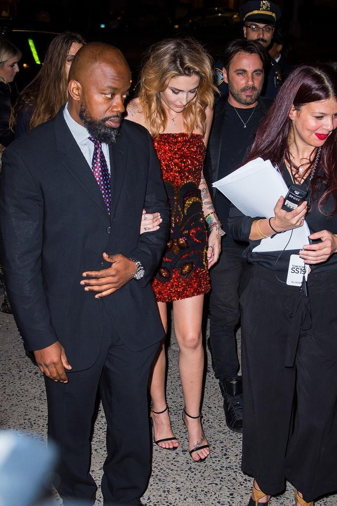 <p>Paris Jackson is spotted outside the Tom Ford fashion show wearing a red sequined strapless dress during New York Fashion Week on Sept. 5, 2018. (Photo: Gotham/GC Images) </p>