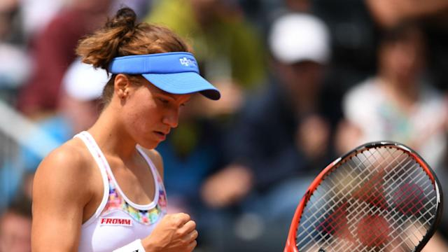 Julia Goerges was one of a quartet of players to reach the last eight in Bienne on Wednesday, while Viktorija Golubic reached round two.