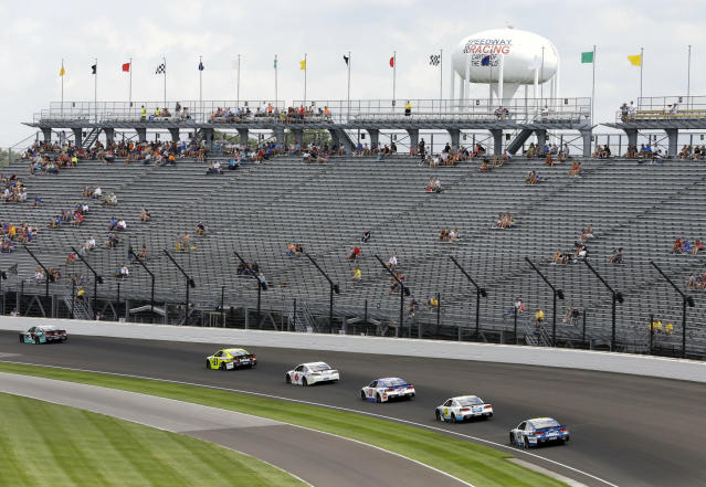 Grandstands that look like this are a reason the Brickyard 400 got moved to September. (AP Photo/Michael Conroy, File)
