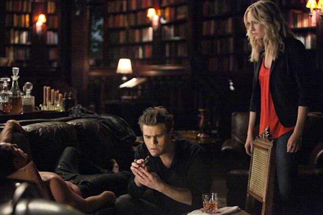 "Paul Wesley as Stefan and Candice Accola as Caroline in ""Memorial,"" the second episode of ""The Vampire Diaries"" Season 4."