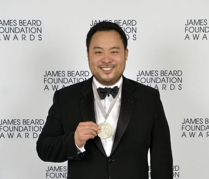 David Chang accepts his James Beard award in 2013 for Outstanding Chef.