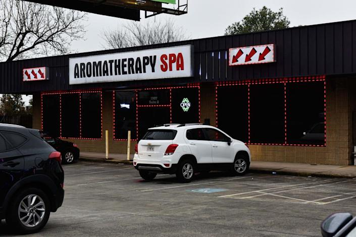 """<div class=""""inline-image__caption""""><p>The Aromatherapy Spa was one of the three Asian massage parlors that was hit by deadly shooting attacks.</p></div> <div class=""""inline-image__credit"""">Virginie Kippelen/AFP via Getty</div>"""