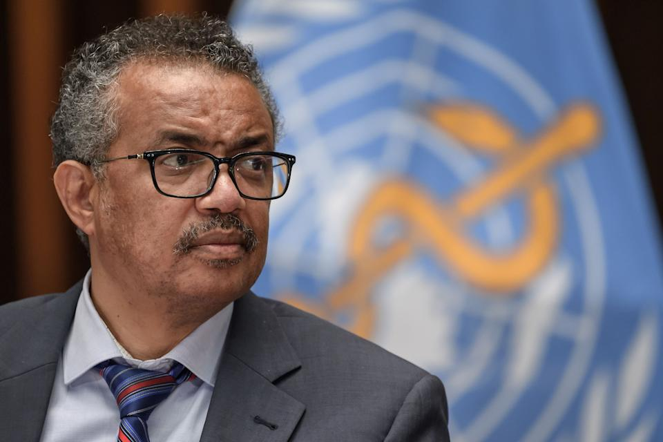 "World Health Organization Director-General Tedros Adhanom Ghebreyesus said Monday at WHO headquarters in Geneva that there may never be a ""silver bullet"" for the coronavirus and that people must instead practice ""the basics of public health"" to stop outbreaks. (Photo: FABRICE COFFRINI via Getty Images)"