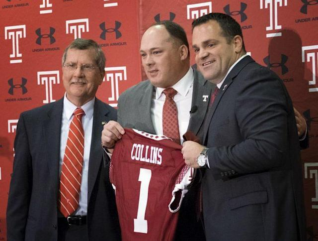 Geoff Collins (C) is entering his first season as Temple's head coach. (AP)