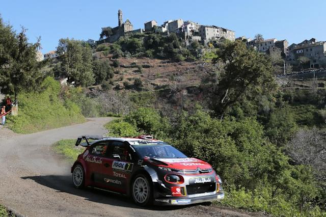 Citroen Abu Dhabi Total WRT team's British pilot Kris Meeke and Irish co-pilot Paul Nagle compete during the shakedown of the Tour de Corse rally, stage of the WRC championships, on April 6, 2017 in Corsica (AFP Photo/PASCAL POCHARD-CASABIANCA)