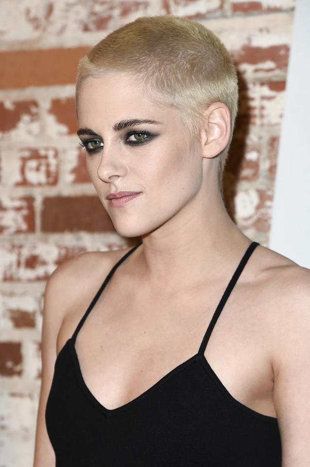 """<p>Kristen Stewart attended the L.A. Premiere of """"Personal Shopper"""" with a brand new platinum blond buzz cut. (Photo: AP) </p>"""