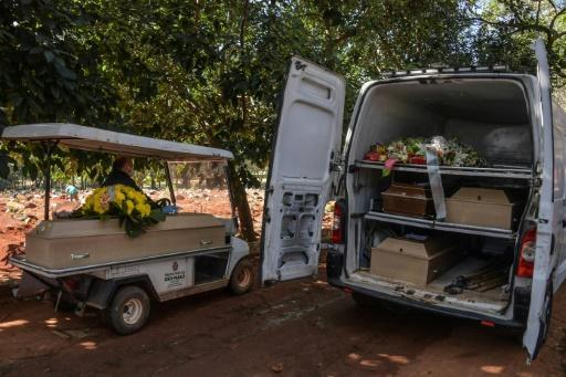 Employees carry the coffin of a person who died from COVID-19 at the Vila Formosa cemetery, in the outskirts of Sao Paulo, Brazil on May 20, 2020