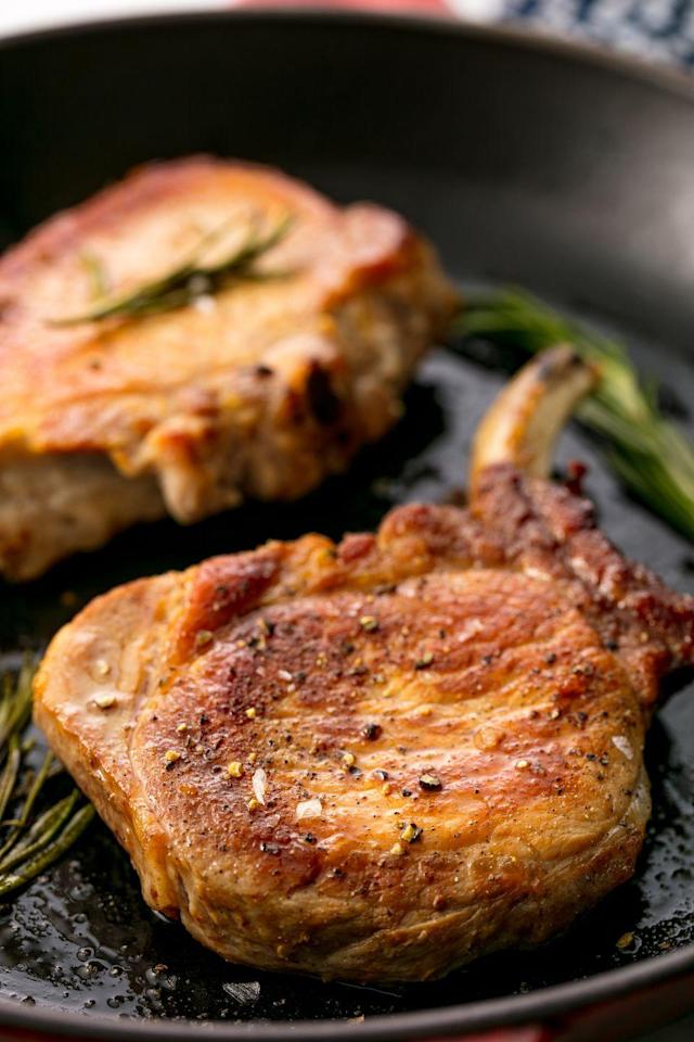 """<p>Your search for the perfect pork chop is over.</p><p>Get the recipe from <a href=""""https://www.delish.com/cooking/recipe-ideas/recipes/a54981/pan-fried-pork-chop-recipe/"""" rel=""""nofollow noopener"""" target=""""_blank"""" data-ylk=""""slk:Delish"""" class=""""link rapid-noclick-resp"""">Delish</a>.</p><p><strong><a href=""""https://www.amazon.com/Creuset-Signature-Handle-Skillet-4-Inch/dp/B00B4UOTBQ/"""" rel=""""nofollow noopener"""" target=""""_blank"""" data-ylk=""""slk:BUY NOW"""" class=""""link rapid-noclick-resp"""">BUY NOW</a><em> Le Creuset Cast-Iron 12"""" Skillet, $200, </em></strong><em><strong>amazon.com</strong></em></p>"""