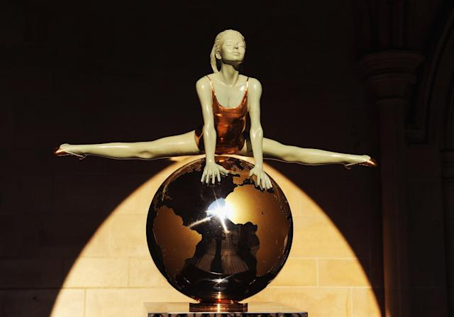 LONDON, ENGLAND - JULY 22: A gymnast sculpted by artist Eleanor Cardozo stands at the front of St Margaret's Church, Westminster Abbey on July 22, 2012 in London, England. (Photo by Mike Hewitt/Getty Images)