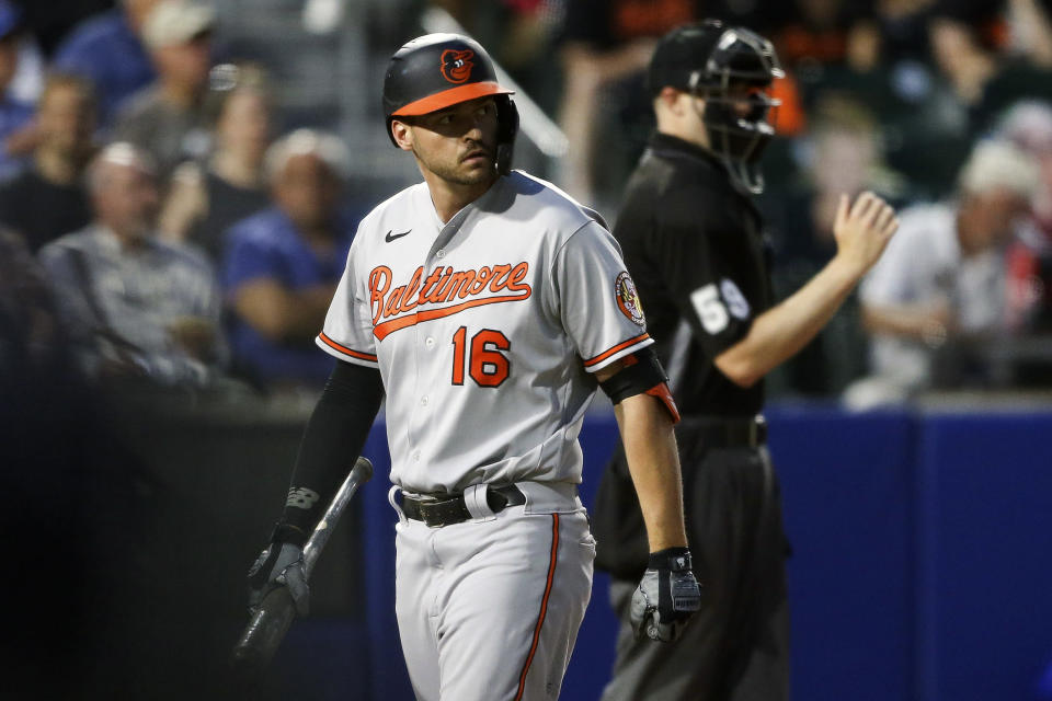 Baltimore Orioles' Trey Mancini (16) walks back to the dugout after striking out during the fifth inning of a baseball game against the Toronto Blue Jays in Buffalo, N.Y., Thursday, June 24, 2021. (AP Photo/Joshua Bessex)