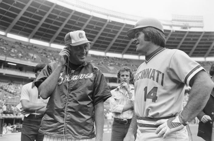 "FILE - Cincinnati Reds' Pete Rose, right, who will attempt a hit in his 44th straight game, is interviewed by Atlanta Braves pitcher Phil Niekro for a television sportscast prior to a game in Atlanta, in this July 31, 1978, file photo. Pete Rose says ""You wanna know the truth? I faced 19 Hall of Fame pitchers in the 1970s and 1980s. I don't know if guys today are facing 19 Hall of Fame pitchers."" (AP Photo/Charles Kelly, File)"