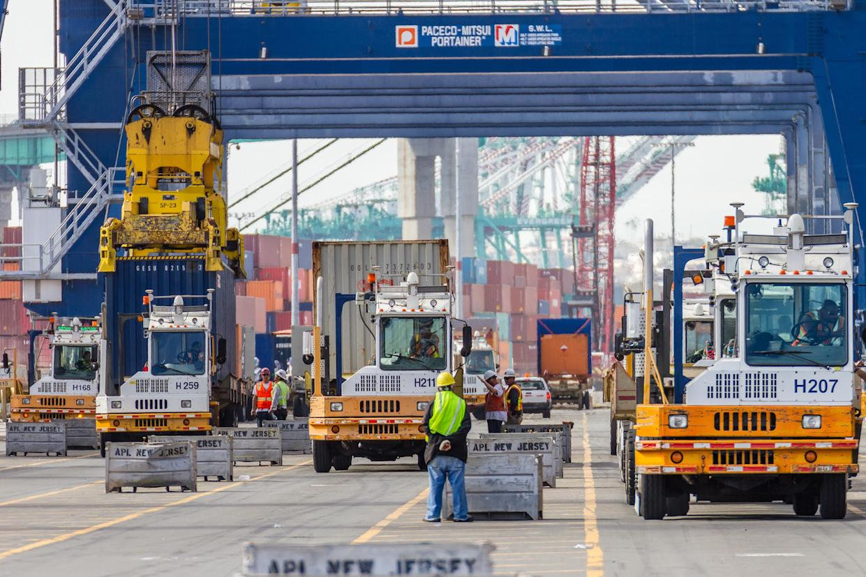 Container terminal activity at Yusen Terminals. (Courtesy of the Port of Los Angeles)