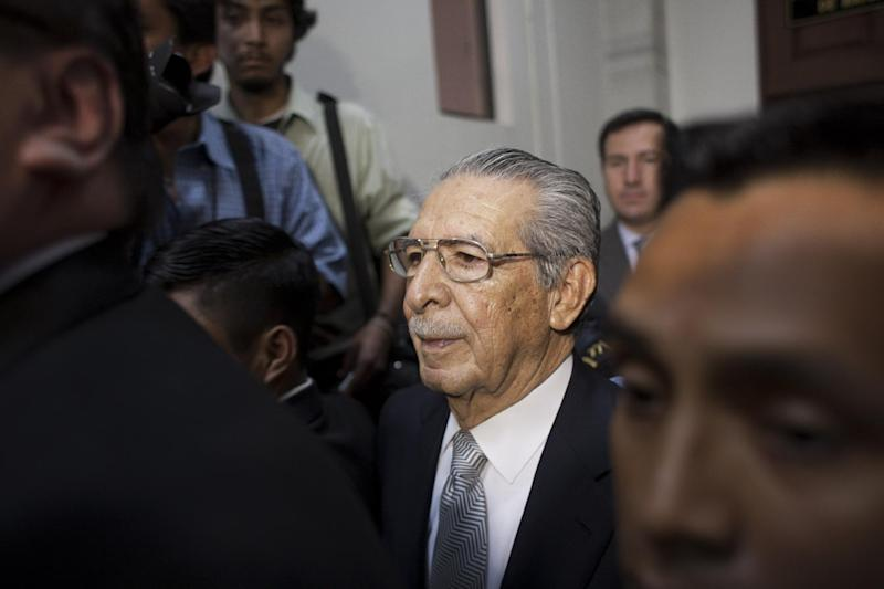 Guatemala's former dictator Efrain Rios Montt, center, attends his hearing in Guatemala City, Tuesday, Feb. 21, 2012. A Guatemalan judge overseeing the genocide case of Rios Montt stepped down Tuesday, accepting a defense request. Rios Montt ruled Guatemala in 1982-83 after a military coup. He is accused in 1,771 deaths, 1,400 human rights violations and the displacement of 29,000 indigenous Guatemalans. (AP Photos/Moises Castillo)