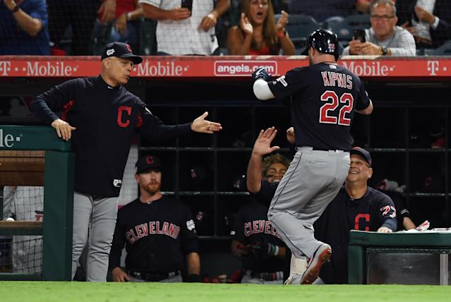 ANAHEIM, CA - SEPTEMBER 09: Cleveland Indians second baseman Jason Kipnis (22) is greeted at the dugout after Kipnis hit a two run home run in the second inning of a game against the Los Angeles Angels played on September 9, 2019 at Angel Stadium of Anaheim in Anaheim, CA. (Photo by John Cordes/Icon Sportswire via Getty Images)