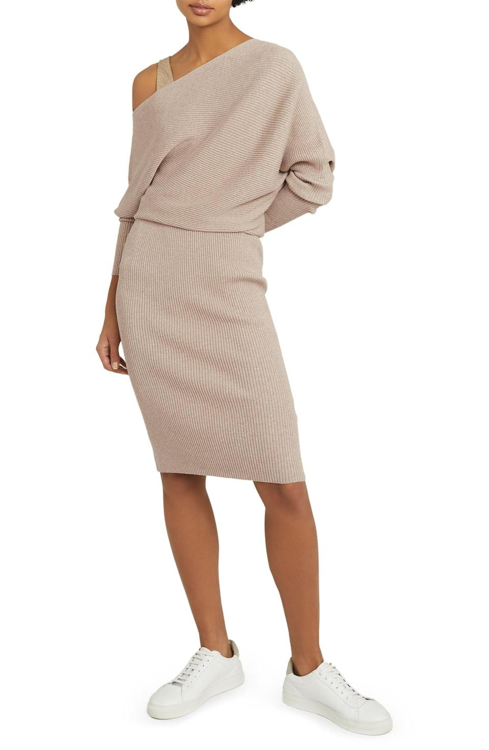 <p>This <span>Reiss Lara One-Shoulder Long Sleeve Sweater Dress</span> ($345) has some noteworthy details.</p>